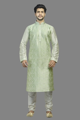 Cream Dupion Kurta With All Over Green Machine Embroidery With Cording On Jabba Patti And Buttons