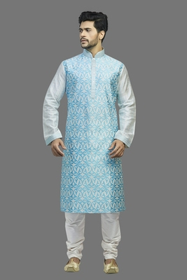 Cream Dupion Kurta With All Over Blue Machine Embroidery With Cording On Jabba Patti And Buttons