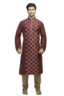 Maroon Polysilk Kurta Set With Machine Embroidery In The Centr And Cording On The Sleeves,Back And Sides