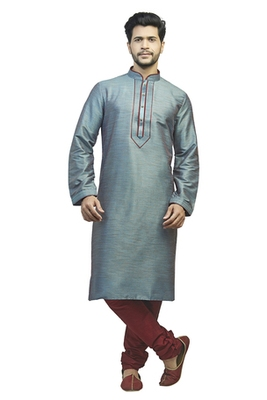 Blue Polysilk Kurta Set With Red Cording All Over And With Stone Buttons