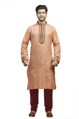 Peach  Woven Kurta Set With Contrast Corded  Maroon Placket Patti With Buttons And Corded Collar