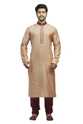 Sand Ps Silk Kurta Set With Contrast Maroon Corded Collar And Machine Embroidered Placket Patti