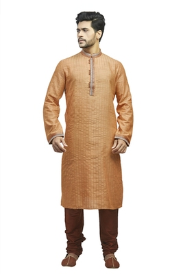 Orange Bhalgapuri Cotton Kurta Set With Embroidered Lace  On The Collar And Placket Patti With Gundi Buttons