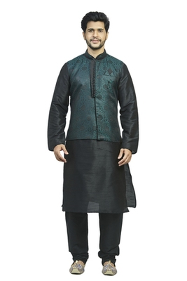 Black Kurta Set With Woven Jacquard Green And Black Jacket With Gundi Nbuttons And Broach