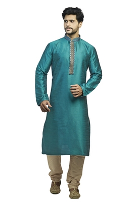 Blue Dupion Kurta Set With Hand Embroidery On The Placket Patti With Brocade Collar And Cord Piping