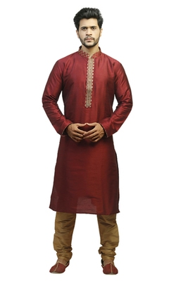 Maroon Dupion Kurta Set With Hand Embroidery On The Placket Patti With Brocade Collar And Cord Piping