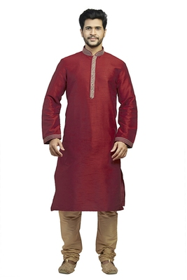 Maroon Silk Kurta Set With Corded Collar And Embroidered Placket Patti