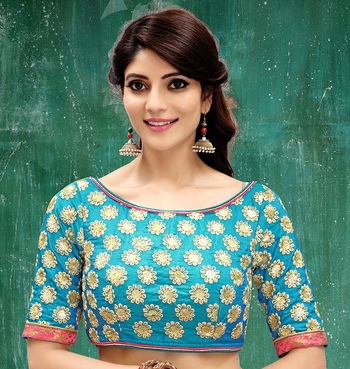 sky blue colored embroidered  two tone silk stitched blouse
