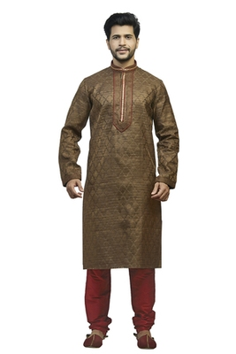 Brown Tanchoi Kurta Set With Contrast Maroon Embroidered  Cording On The Collar And Placket Patti