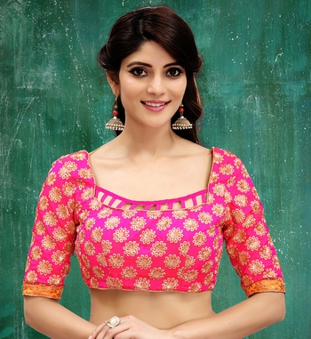 pink colored embroidered  two tone silk stitched blouse