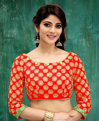 red colored embroidered  two tone silk stitched blouse