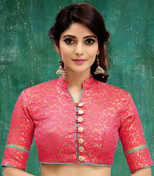 pink colored embroidered  brocade stitched blouse