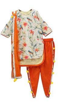 6b62354ab05b Light Cr me Digital Print Pure American Crepe Dhoti Pant Style For Girls  Wear