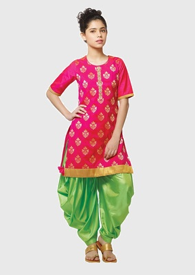 Rani Pink Paper Foil Print Heavy Dhupian Partywear Patiala Suit For Girls Wear