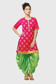 cf1dda974e Rani Pink Paper Foil Print Heavy Dhupian Partywear Patiala Suit For Girls  Wear