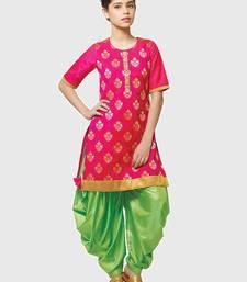 Buy Rani Pink Paper Foil Print Heavy Dhupian Partywear Patiala Suit For Girls Wear women-ethnic-wear online