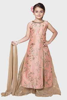 43c6b73963 Peach Embroidery Heavy Chanderi Silk Palazzo Style Salwar Suit For Girls  Wear