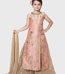Peach Embroidery Heavy Chanderi Silk Palazzo Style Salwar Suit For Girls Wear