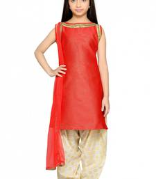 Shiner Red Heavy Brocade Silk Dori Embroidery Lace ReadyMade Kids Straight Patiala Suit (2-12 year girl)