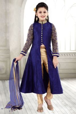 Navy Blue Sequance Embroidery Banglori Silk With Net Anarkali Style ReadyMade Kids Salwar Suit