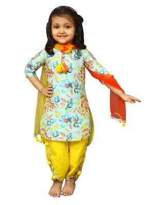 d6b7729957b6f White Button Girl's Banglori Silk Sky Blue Floral Print PartyWear ReadyMade  New Kids Salwar Suit - White Button - 2621179