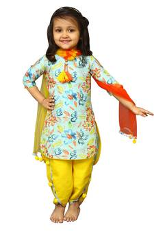 2afb8002b15 White Button Girl s Banglori Silk Sky Blue Floral Print PartyWear ReadyMade  New Kids Salwar Suit · Shop Now