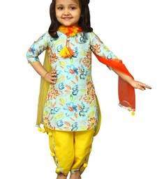 Buy White Button Girl's Banglori Silk Sky Blue Floral Print PartyWear ReadyMade New Kids Salwar Suit kids-salwar-suit online