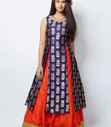 Navy Blue Designer Jequard Silk Partywear Lehenga choli For Girls Wear