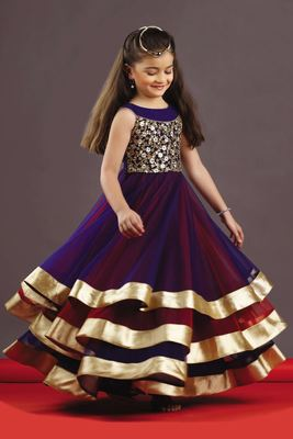 Violet and Red Embroidery  Soft Net And Taffet Silk ubrella Cut Full Flair Wedding Wear Gown Dress For Kids Wear