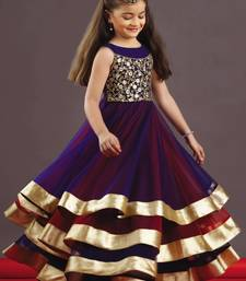 Buy Violet and Red Embroidery  Soft Net And Taffet Silk ubrella Cut Full Flair Wedding Wear Gown Dress For Kids Wear kids-girl-gown online
