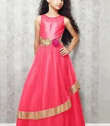 Buy Pink Embroidery Satin Silk Festival Special Gown Dress For Kids Wear women-ethnic-wear online