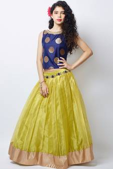 4602ddbf871 Lemon green jequard silk with silk inner Bright Net wedding Wear lehenga  choli forkids wear