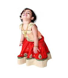 Buy Crème Red Hand embroidery cambric cotton flared kids anarkali lehenga choli kids kids-lehenga-choli online