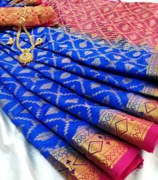Buy Blue Pink Raw Silk Fancy Gicha Diamond Brocade saree with contrast Pallu and unstitch Blouse brocade-saree online