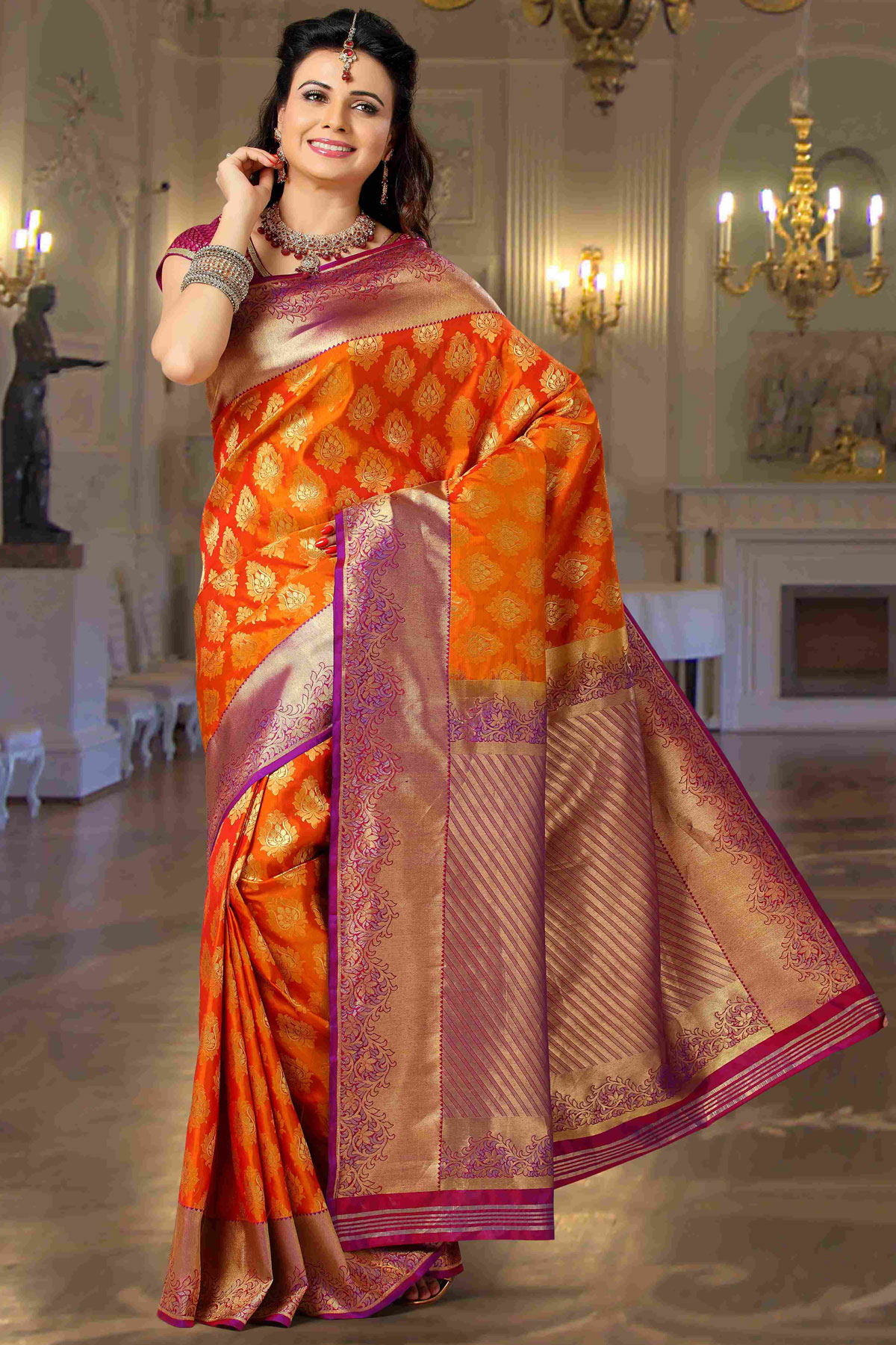96f868cb3 Red Silk Saree With Violet Blouse