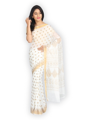 White plain cotton saree