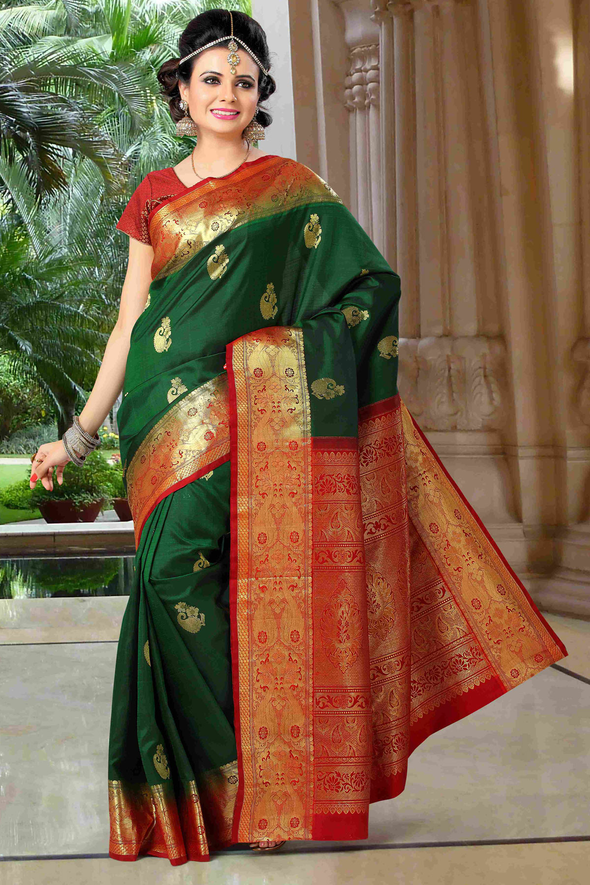 4f5e692c438f3c Green embroidered art-silk saree with blouse - mirraw test - 353938
