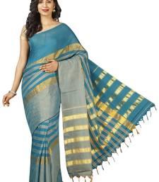 Buy Blue plain cotton saree cotton-saree online