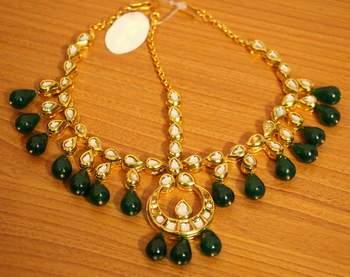 Kundan Meenakari Bridal Emerald Look Maang Tikka