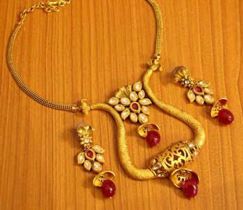 Kundan Meenakari Gold Look Matt Finish Ruby Necklace Set