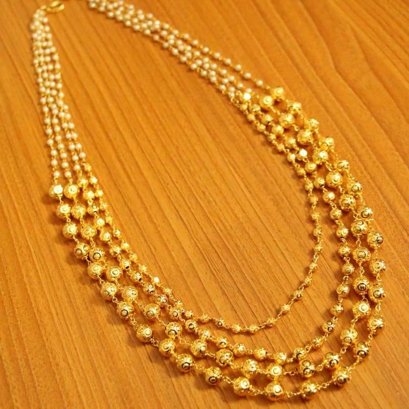 Kanjivaram Beads: Pearl And Gold Beads Ethnic Necklace