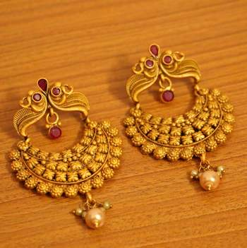 Temple Jewellery Gold Plated Ruby Earrings