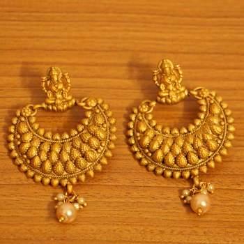 Temple Jewellery Gold Look Matt Finish Earrings