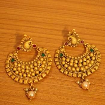 Multicolour matt finish temple jewellery earrings