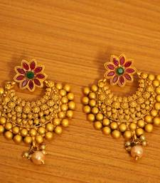 Buy Matt Gold Finish Multicolour Chand Bali Earrings danglers-drop online