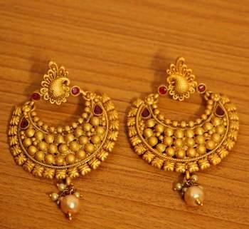 Temple Jewellery Matt Finish Earrings