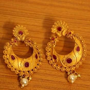 Ruby Matt Gold Finish Temple Jewellery Earrings