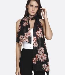Buy Women Black Georgette Floral Printed Scarf scarf online