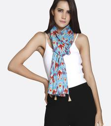 Buy Blue Liva Certified Rayon Printed Scarf scarf online