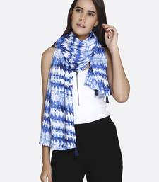Shloh Blue  and  White Liva Certified Rayon Zig - Zag Printed Scarf